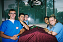 Erik Mortens (front left) poses with his dissection group in preparation for a memorial ceremony thanking the cadaver donors and their families.
