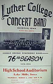 Luther College Concert Band Poster, 1954