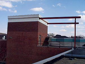 Outside of the Rooftop Observatory. The roof opens by sliding out onto the steel rails.