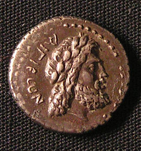 Greek Drachma featuring the Bust of Aristodemus on its obverse face. Haatvedt Collection. Catalog # Hv 122