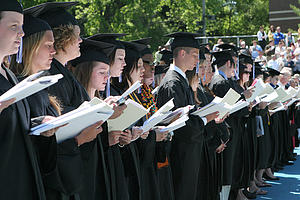 Luther grads during Commencement 2009.