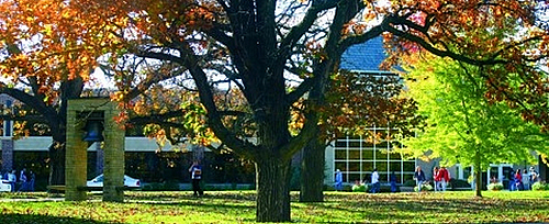 The Dahl Centennial Union front and Luther Bell Green in the fall.