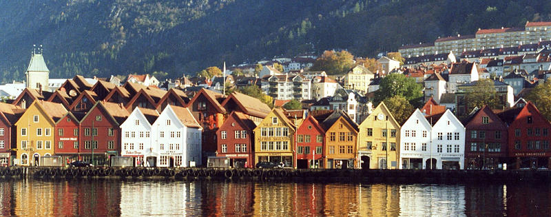 Row of seaside homes in Bergan, Norway.