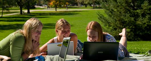 Students on library lawn
