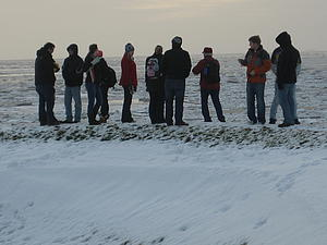 Luther students on the dike in Dagebull, looking out over the North Sea. Brr....