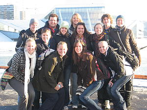 Luther students in front of the Oslo Opera House.