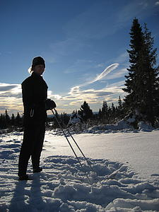 Erik Eitrheim enjoying a ski in the mountains outside of Lillehammer.