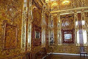 Amber room of the Catherine Palace in St. Peterburg, Russia (by Presidential Press and Information Office, from http://www.kremlin.ru/events/photos/2003/05/46482.shtml, via Wikimedia Commons)