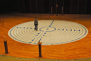 Dione Miller '12 walking the Luther College Labyrinth