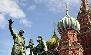 "Minin and Posharski, Liberators of Moscow 1612, monument on the Red Square in Moscow (by Benjamin F. Zingg, from Wikimedia Commons)<a href=""/reason/images/320885_orig.jpg"" title=""High res"">∝</a>"