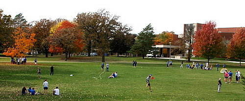 Recreation on Preus Library lawn