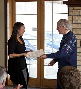 "Siri Lokensgard receives Don Kemp scholarship from Craig Mosher<a href=""/reason/images/323937_orig.jpg"" title=""High res"">∝</a>"