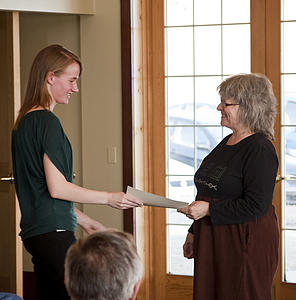 "Melissa Schlarmann receives the Slostad Scholarship from Ginger Meyette<a href=""/reason/images/323941_orig.jpg"" title=""High res"">∝</a>"