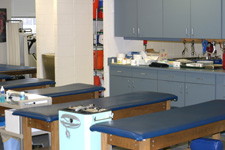 The training room has 17 treatment tables.