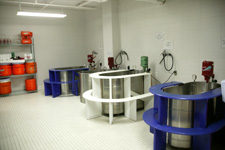 Three whirlpools in the training room.