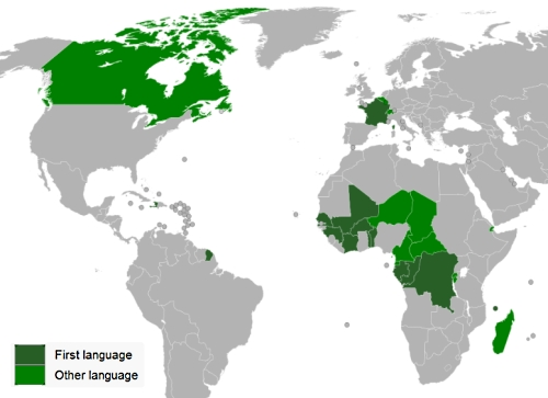 Map highlighting countries around the world where French is spoken.