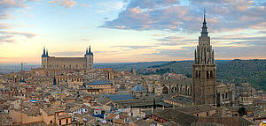 "Toledo, Spain: View of the city, with the Alcázar and the Cathedral; by David Iliff, from Wikimedia Commons<a href=""/reason/images/338563_orig.jpg"" title=""High res"">∝</a>"
