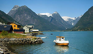 "The village of Fjærland and the Fjærland Fjord in Sogn og Fjordane county; Aqwis, from Wikimedia Commons<a href=""/reason/images/338919_orig.jpg"" title=""High res"">∝</a>"