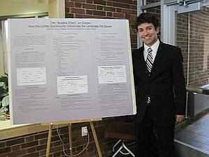 May 2010; David Fares, with the poster he presented at the Student Research Symposium, based on research he did for Ling. 247 Dialects