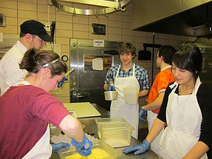 Behind the scenes, much goes on. Students prepare food a day in advance.