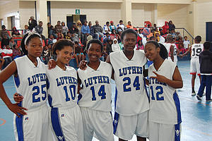 Hoops for Hope athletes in the uniforms donated by the Luther College women's basketball team.