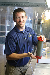 Jeff Emerson with his core sample from the bottom of the Black Sea, 2012
