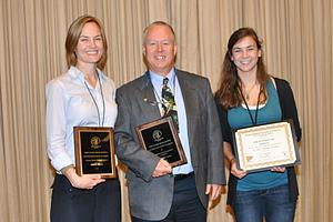 Award Winning Luther Entomologists Amy Morey, Kirk Larsen, and Nikki McDermond-Spies at the North Central Branch meetings of the Entomological Society of America.