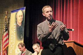 Todd Green at annual colloquium at Pope John Paul II High School