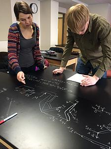 Nathan and Madeline working on Statics problems