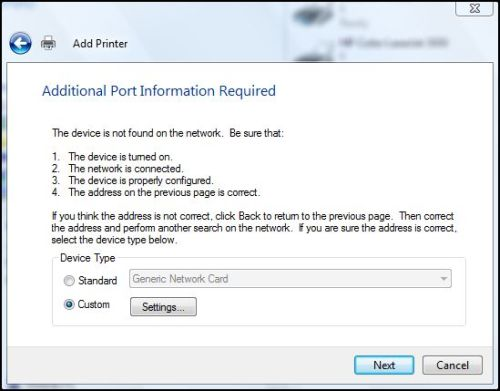 Windows Network Print Training - Additional Port Information Required