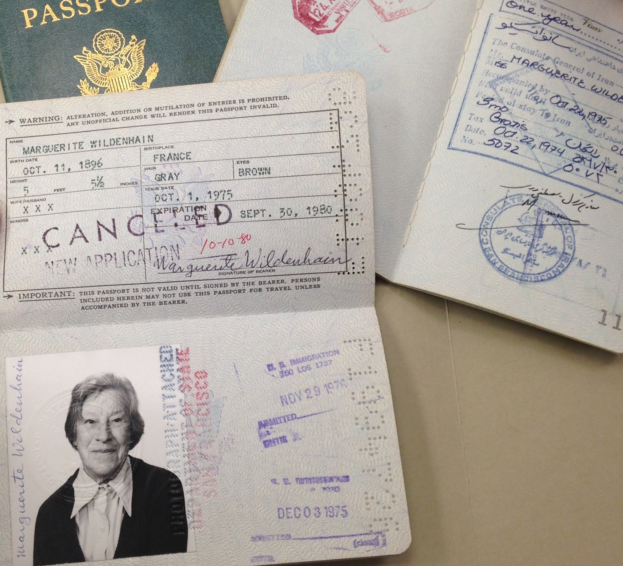 Passports belonging to Marguerite Wildenhain that show numerous travel visas and stamps, including a year's visit to Iran in 1975.