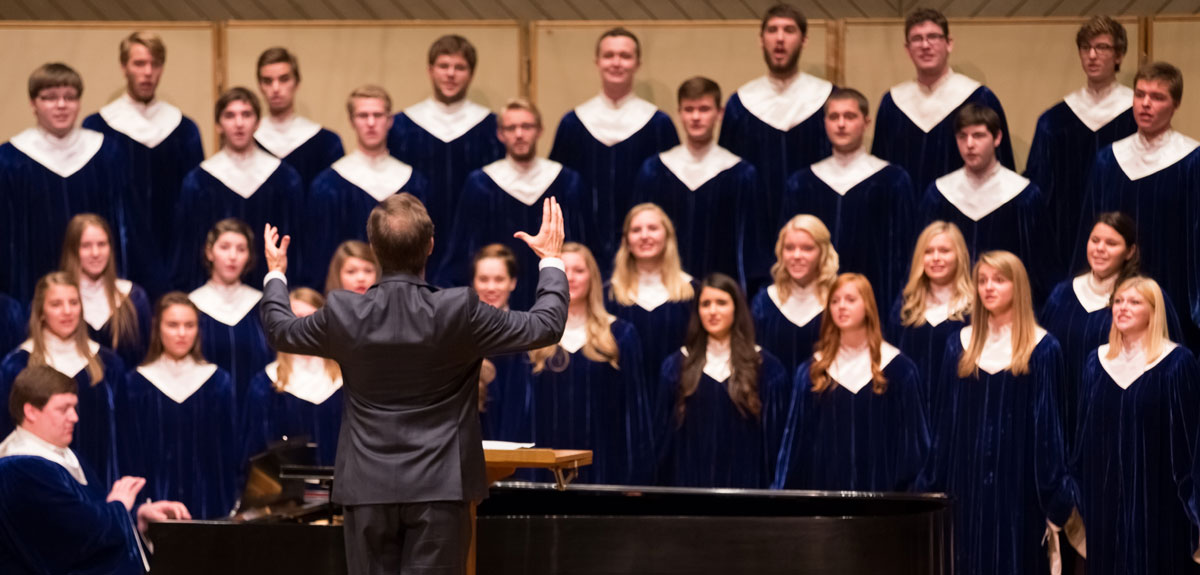 Students singing during a Nordic Choir performance.