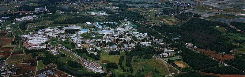 Aerial image of KEK, the National High Energy Research Laboratory of Japan
