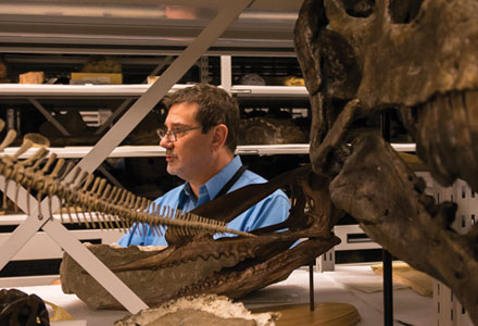 Carron conducts a behind-the-scenes tour of natural science and paleontology collections storage.