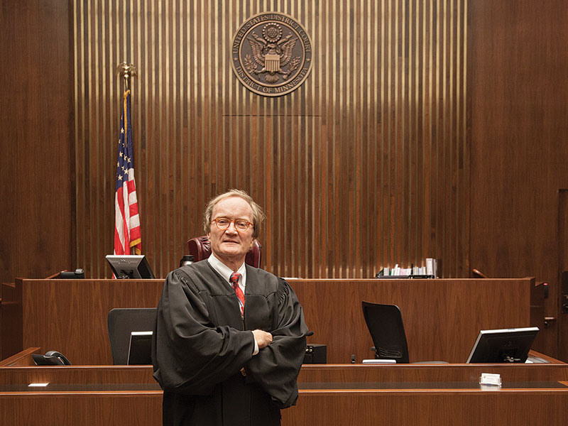 Judge Donovan Frank '73 in his courtroom in the U.S. District Courthouse in St. Paul, Minnesota.