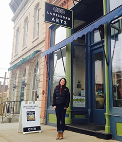 Kara Maloney standing outside the Lanesboro Arts Center.