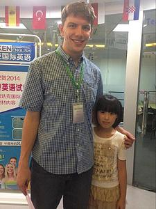 Erik with one of his students from an English course in China.