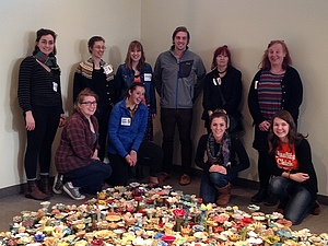 Museum Studies and Art Education students At Vesterheim Norwegian-American Museum exhibit