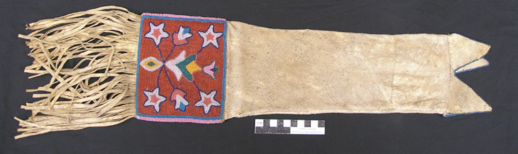 Pipe Bag. ca. 1850-1900. Leather. Similar to Cree Native American style. E560.