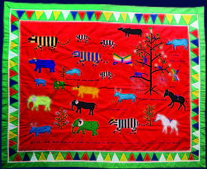 Hmong Agricultural Story Cloth, E1114. Artist unknown. This cloth depicts the agricultural cycle of a Hmong family.