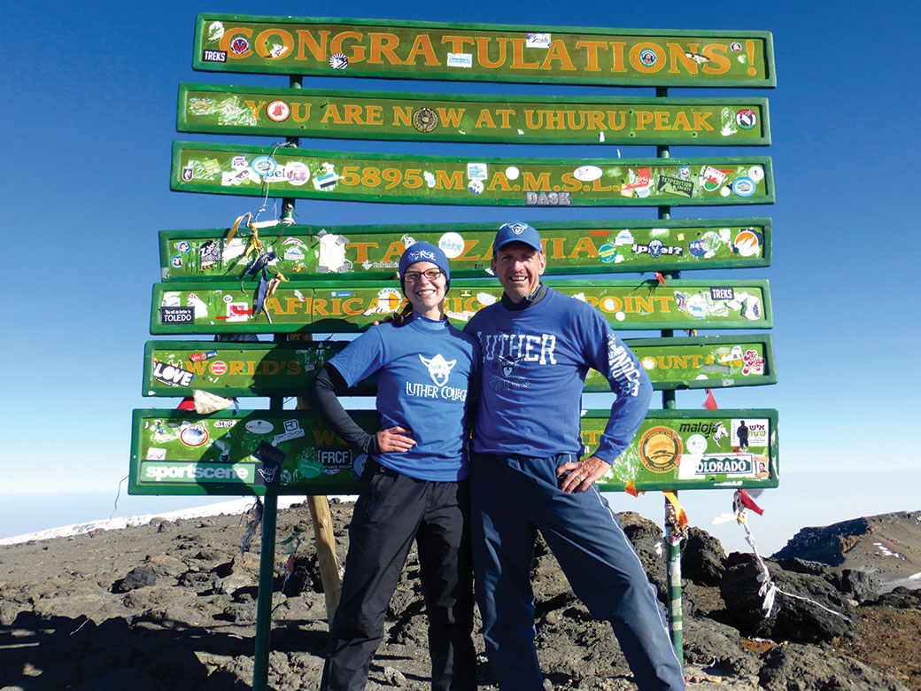 McKenna Campell-Potter '16 celebrates a climb last summer to the top of Mount Kilimanjaro with her father, Ken Potter '75.