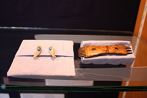Earrings (Alaska, E683) and comb (Alaska, E177).