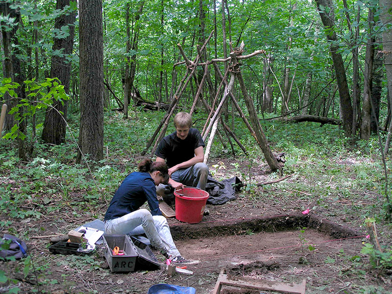 During professor of anthropology Colin Betts's Archeological Field Methods course, Molly Kline '12 and Haaken Hagen-Atwell, son of LIS public services coordinator Eddie Atwell, excavate a test unit in Lionberger Preserve to look for evidence of prehistoric habitations. From their preliminary work, the site appears to have been a small campsite that was periodically used around 2,000 years ago.