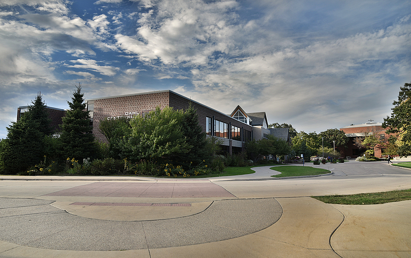 A serene view of Luther's Dahl Centennial Union, photographed from the south end of the building.