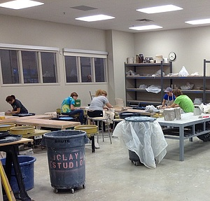 The World Pottery classroom in the Center for the Arts