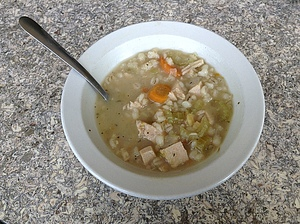 Delicious turkey barley soup for lunch