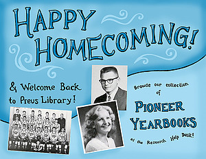 This is the poster I created at work to celebrate Homecoming in the library!