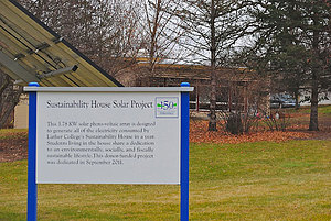 Sustainability House motto on display
