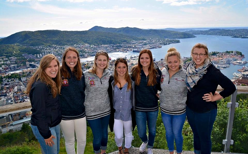 Students pose at the top of the Fløibanen in Bergen