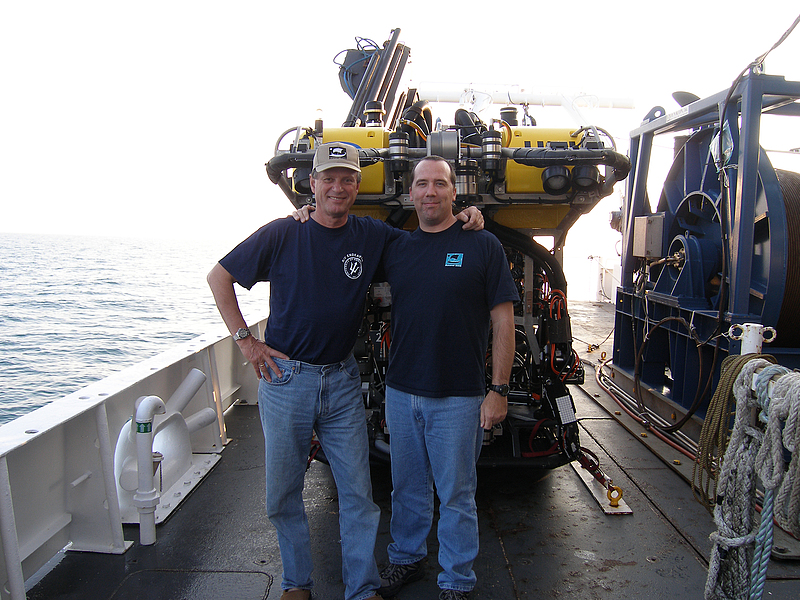 Dan Davis and Robert Ballard aboard the R/V Endeavor in the Black Sea.